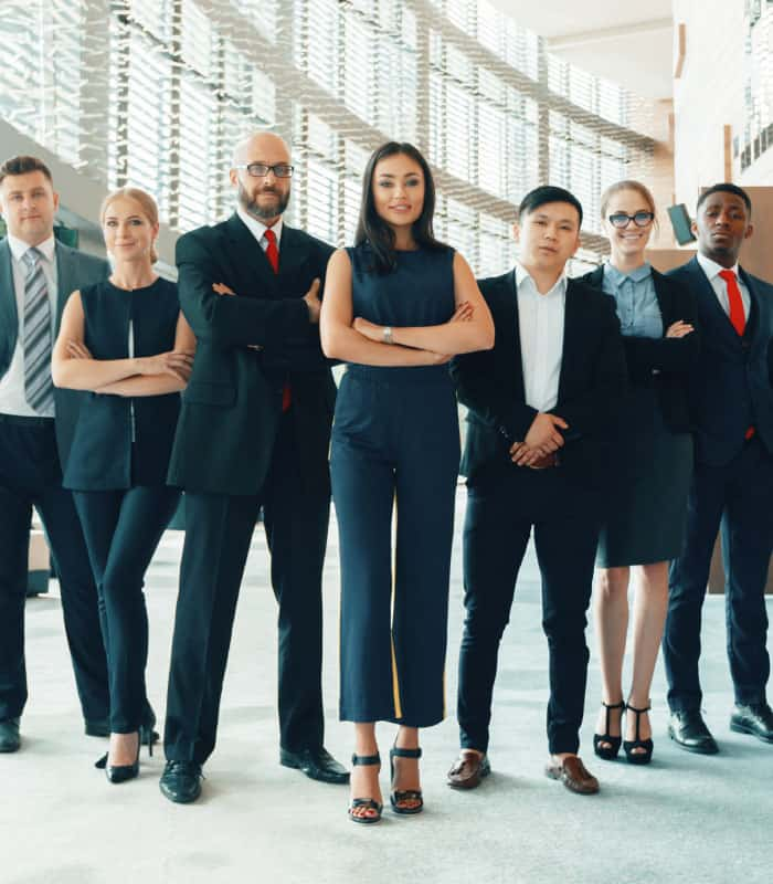 Business professionals standing horizontally and looking in the camera